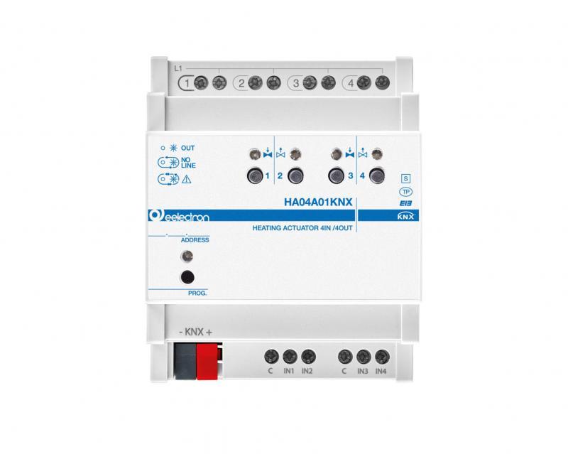 eelectron KNX Värmeaktor 4-kan Termoställdon + 4IN