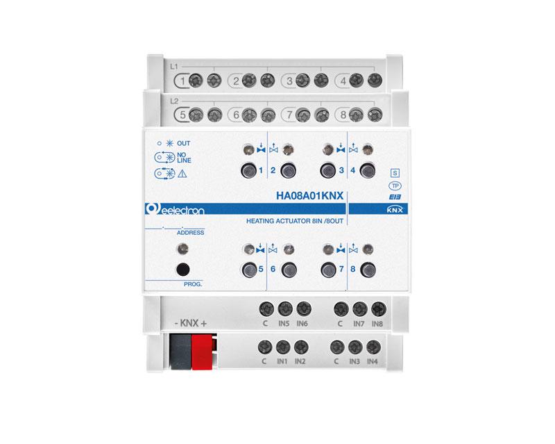 eelectron KNX Värmeaktor 8-kan Termoställdon + 8IN