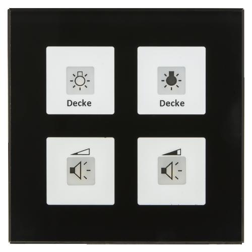 MDT RF Tryckknapp Push Button Plus 4-kn + 2UT Svart glas