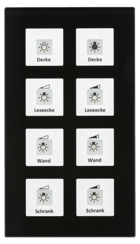 MDT RF Tryckknapp Push Button Plus 8-kn + 2UT Svart glas