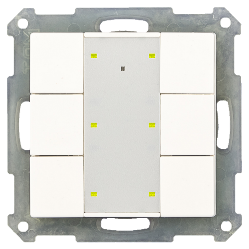 MDT RF Tryckknapp Push Button Plus 6-kn + 2UT Vit blank