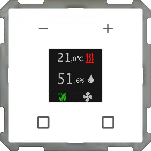 MDT Rumstermostat Smart 63mm Färgdisplay Vit blank