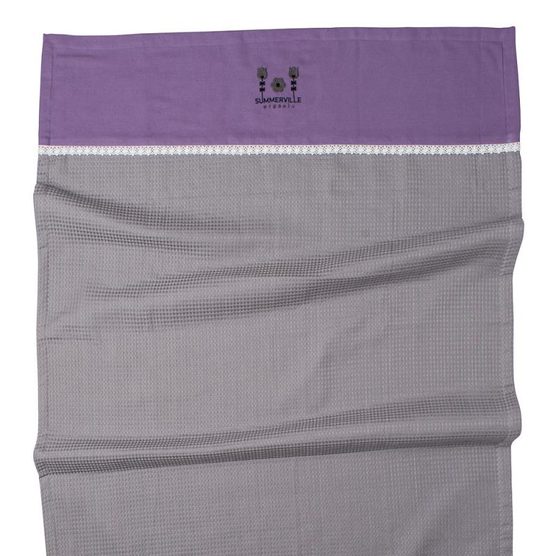 Blanket waffle light grey-aubergine small