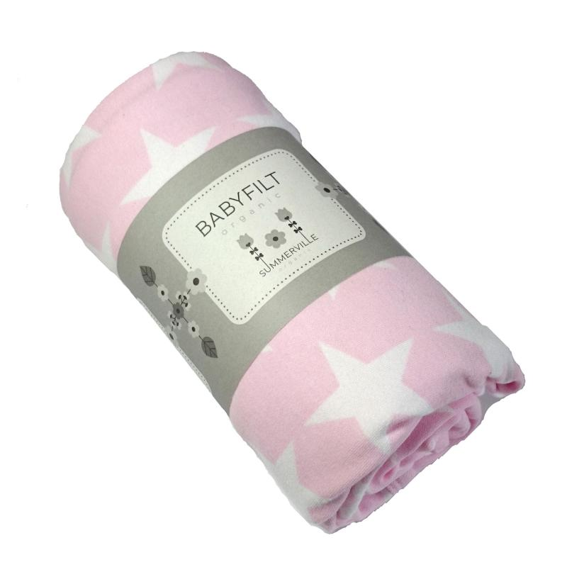 Babyblanket double pink with stars