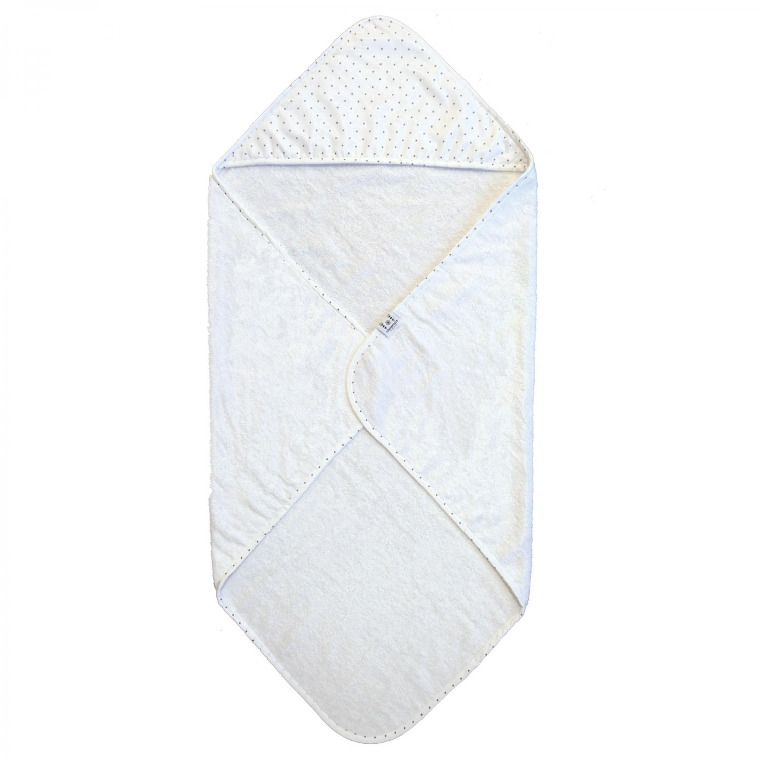 Hooded towel white dotty