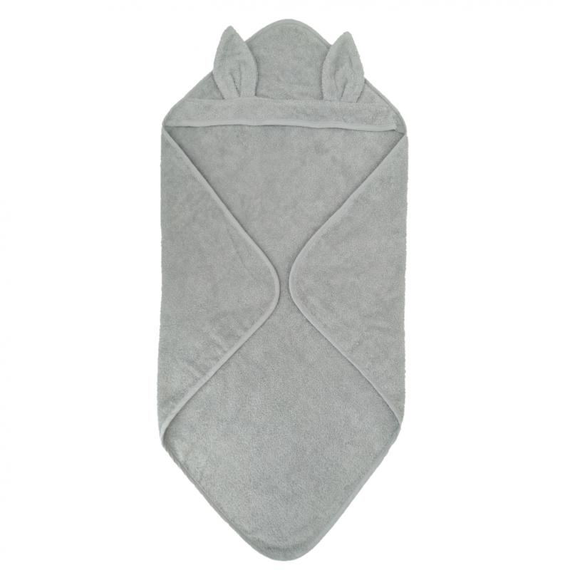 Hooded towel rabbit silver grey GOTS