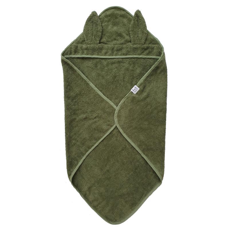 Hooded towel rabbit green