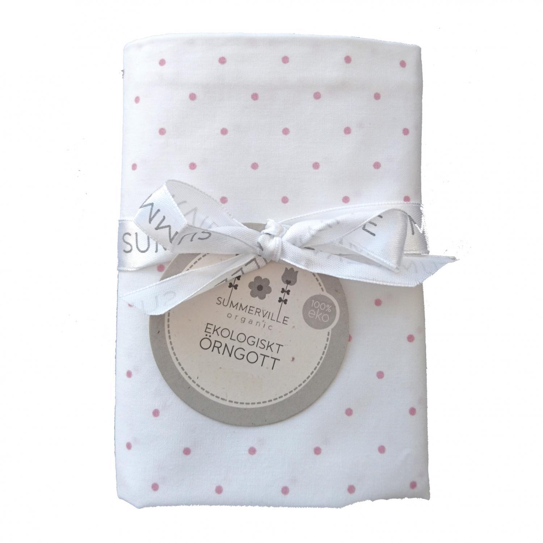 Pillow case junior white/pink dotty