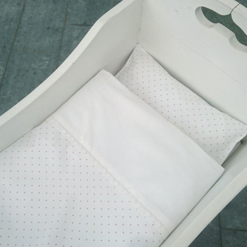 Bedding baby white/pink dotty