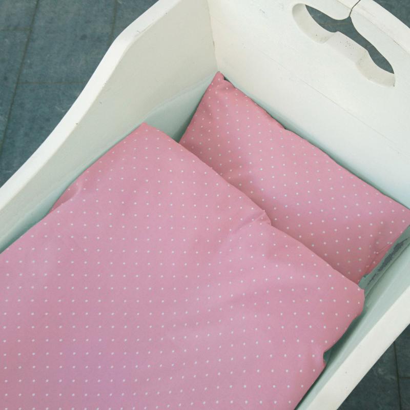 Bedding baby soft pink dotty