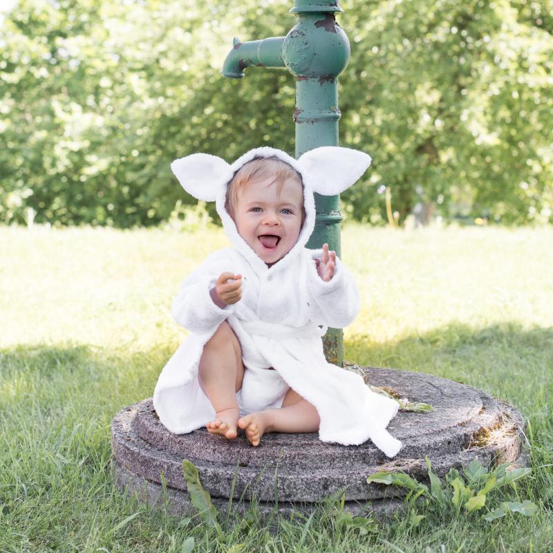 Bath robe rabbit white 74/80 GOTS