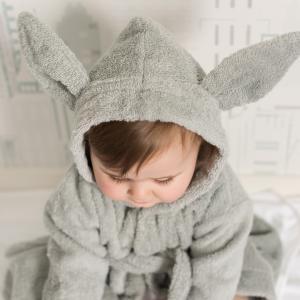 Bath robe rabbit silver grey 74/80 GOTS