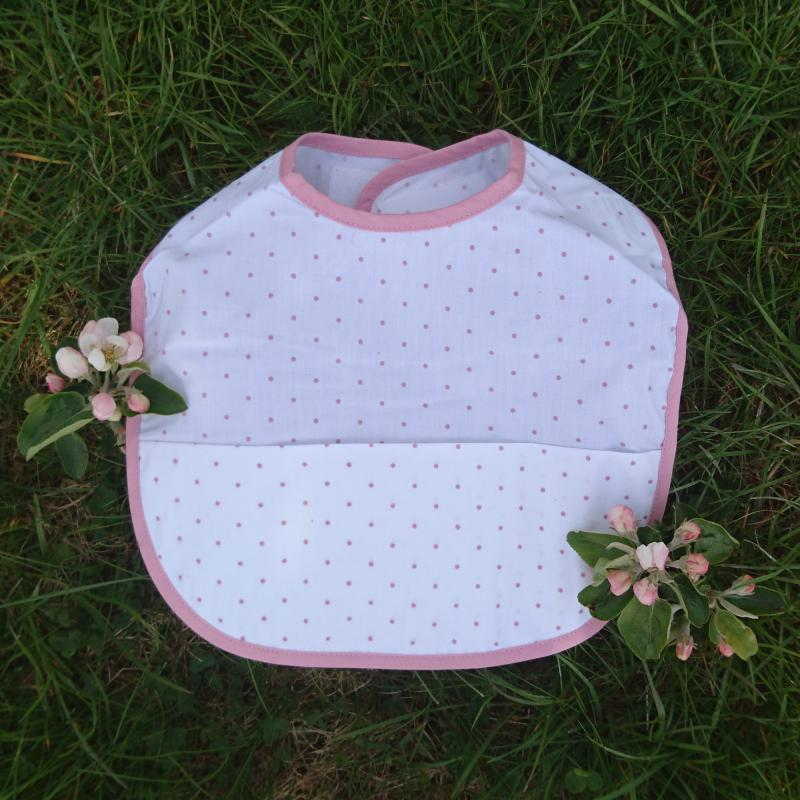 Bib white/pink dotty