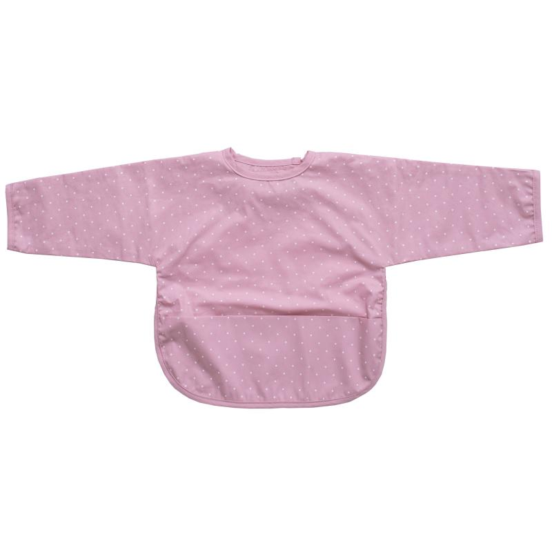 Bib with sleeves soft pink dotty