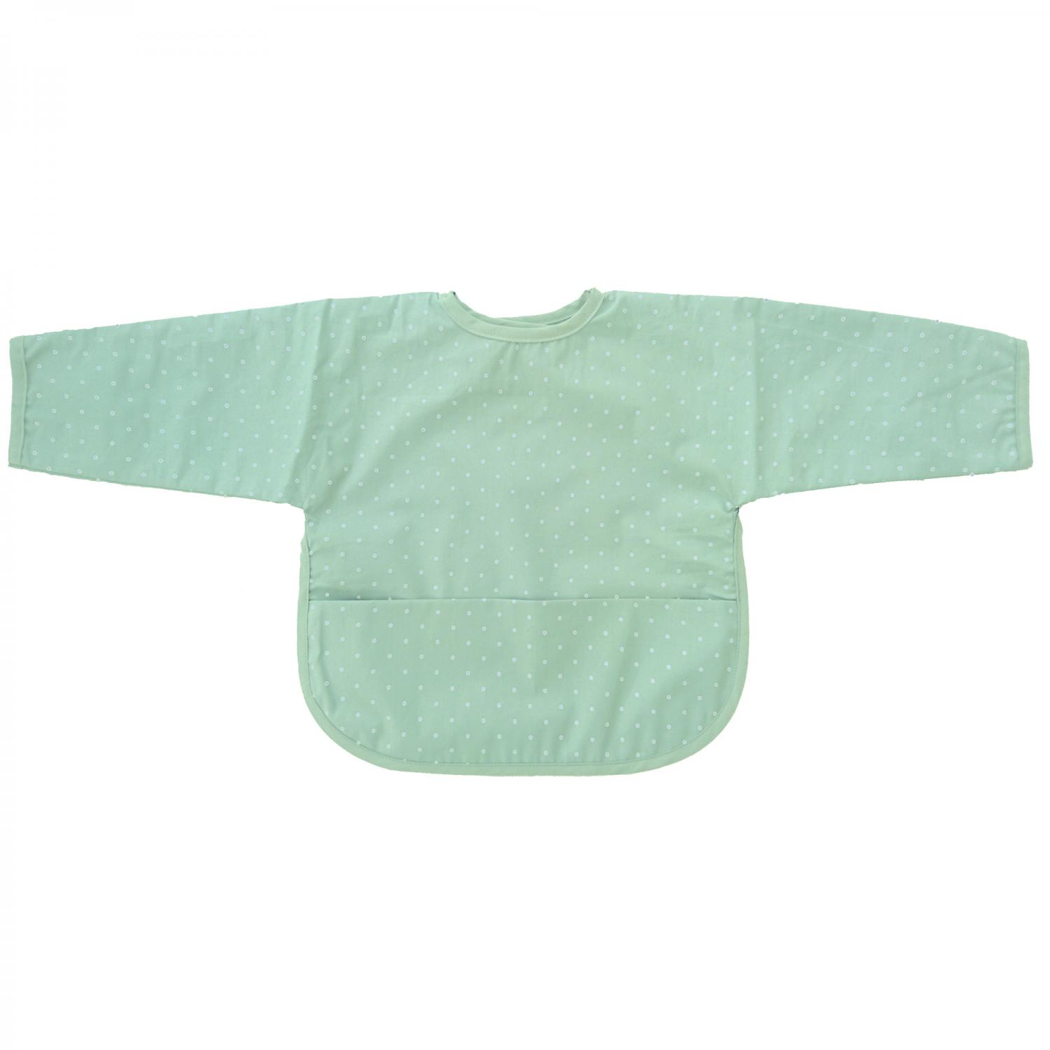 Bib with sleeves soft mint dotty