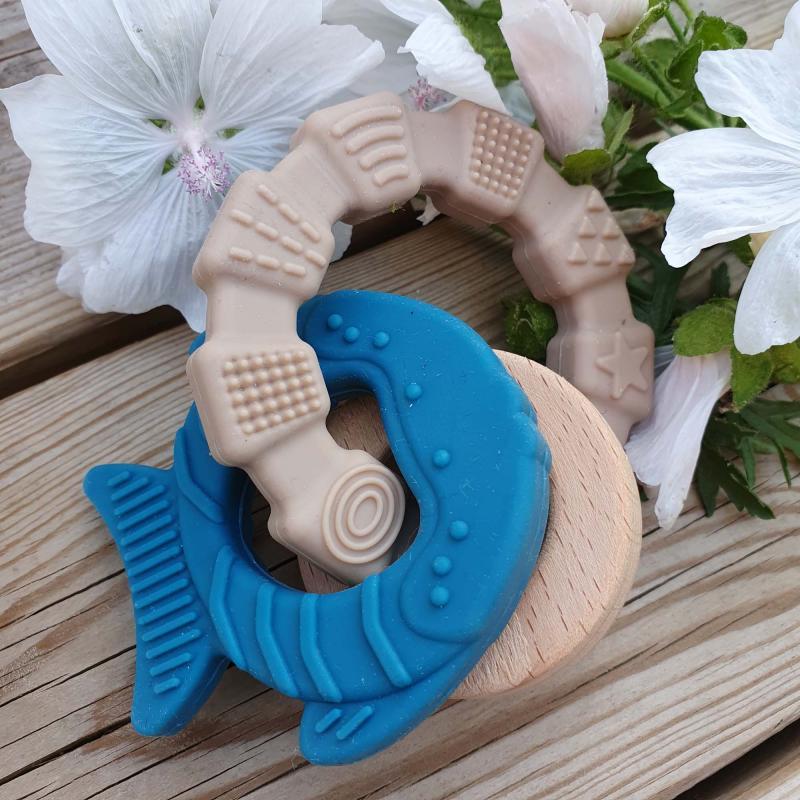 Teether toy fish ocean blue
