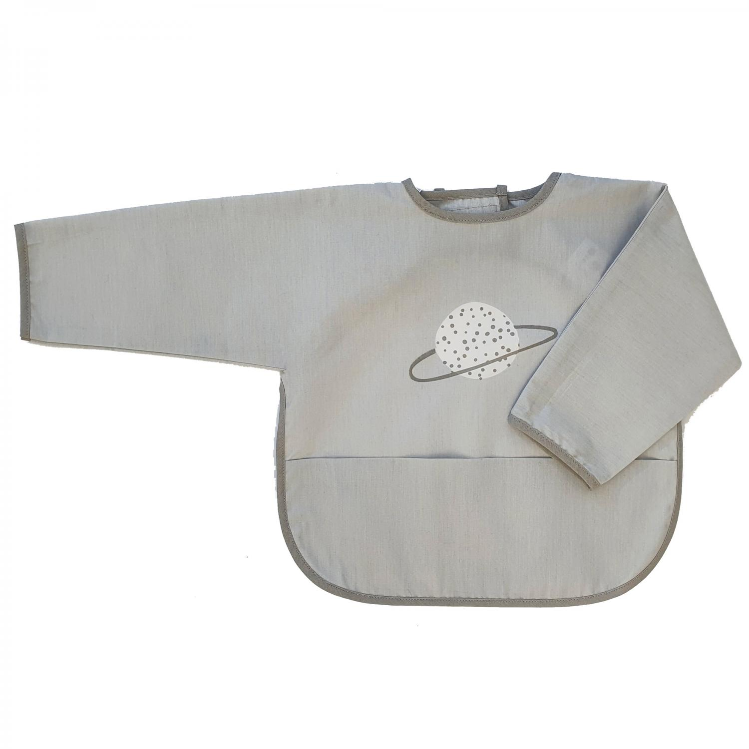 Bib with sleeves grey planet
