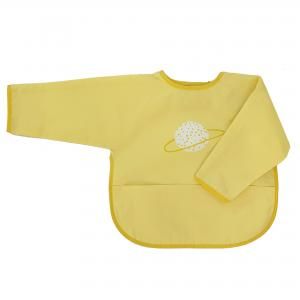 Bib with sleeves yellow planet