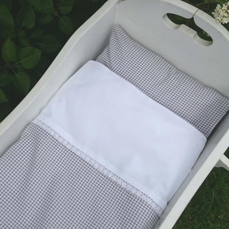 Bedding baby gingham grey