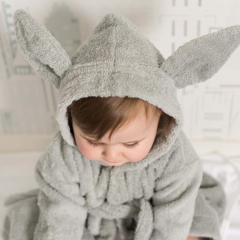 Bath robe rabbit silver grey