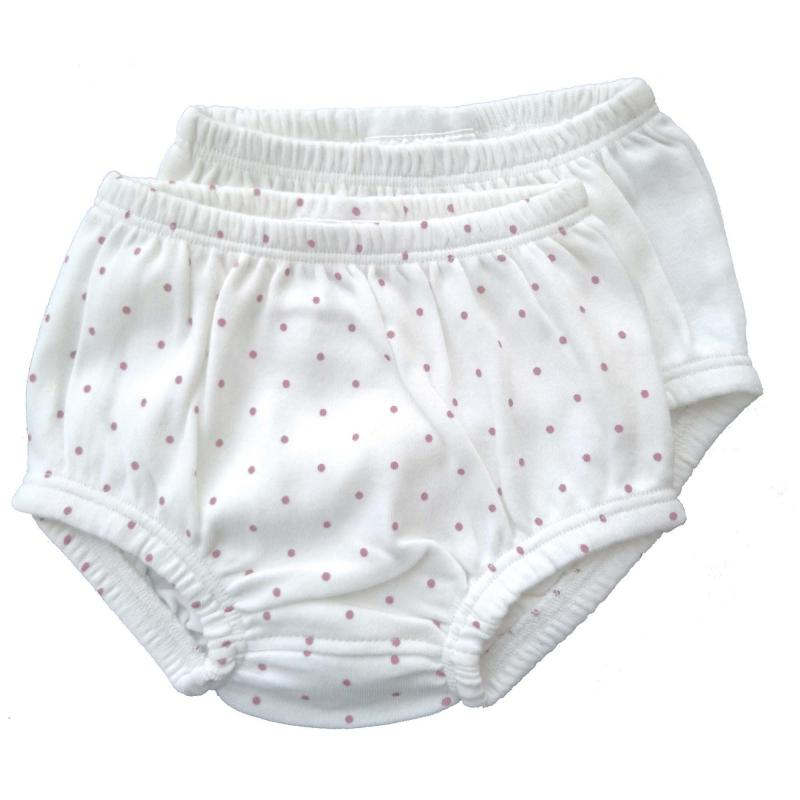 Bloomers pack of 2 white/pink dotty 0-3