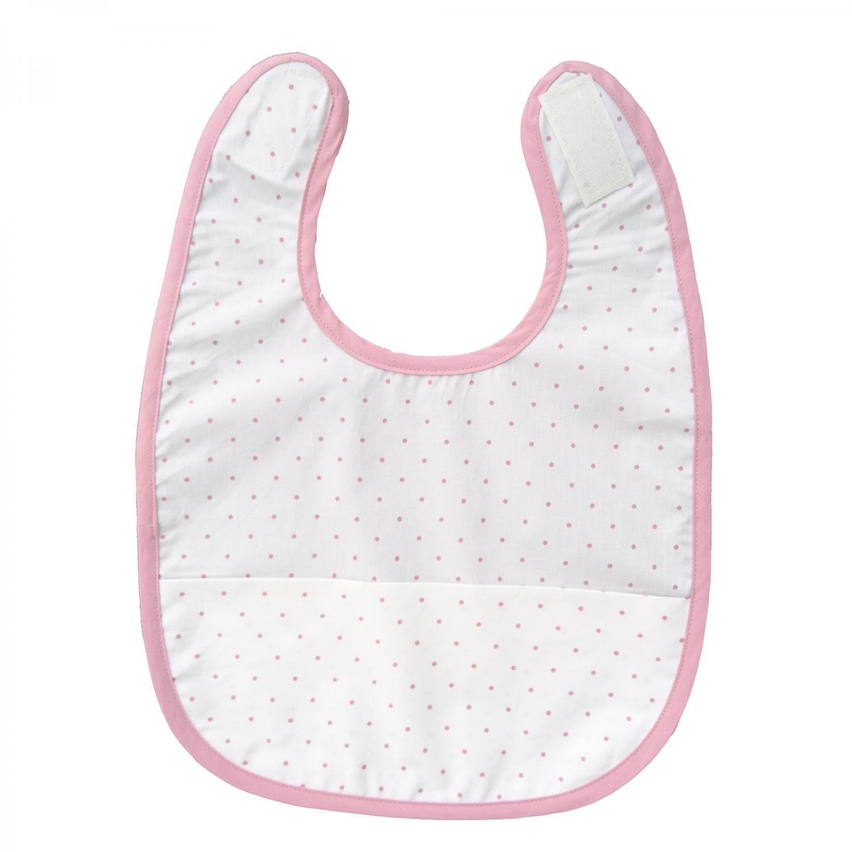 Bib white/pink dotty