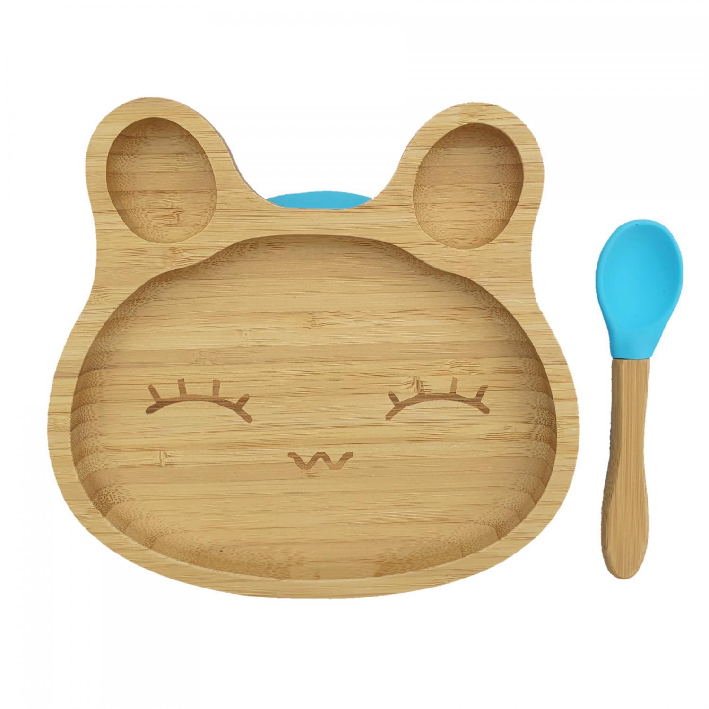 Bamboo tableware rabbit blue