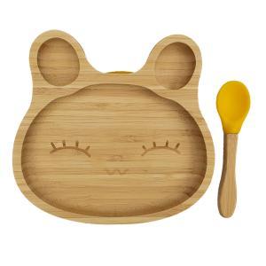 Bamboo tableware rabbit yellow