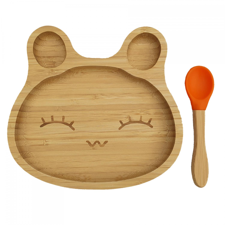 Bamboo tableware rabbit orange
