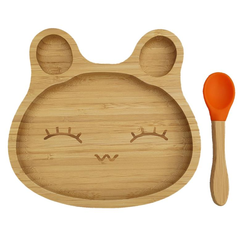Bamboo tableware rabbit orange