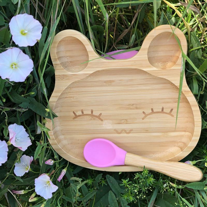Bamboo tableware rabbit pink