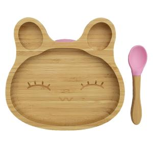 Bamboo tableware rabbit pink