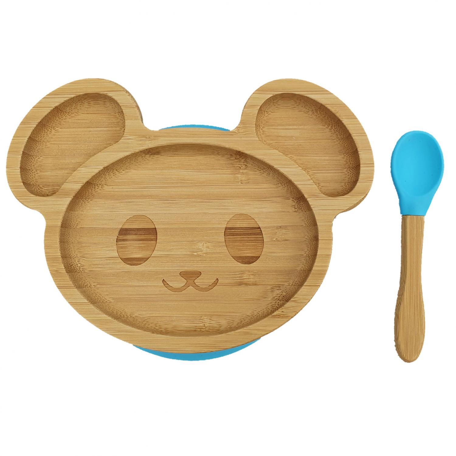 Bamboo tableware mouse blue
