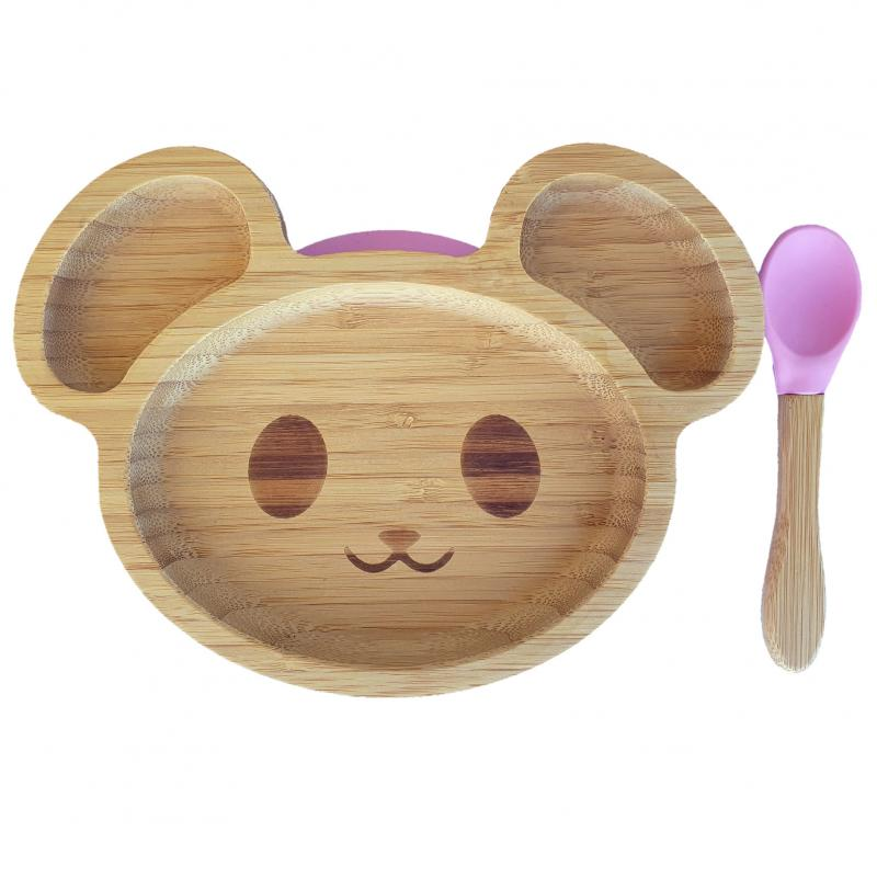 Bamboo tableware mouse pink