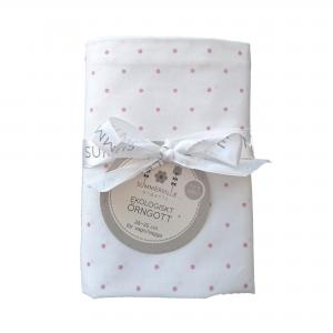 Pillow case junior white/pink dotty