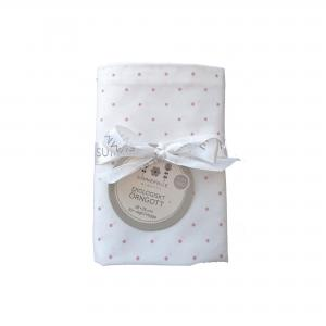 Pillow case baby white/pink dotty