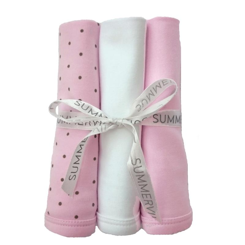 Blankies pink dotty pack of 3