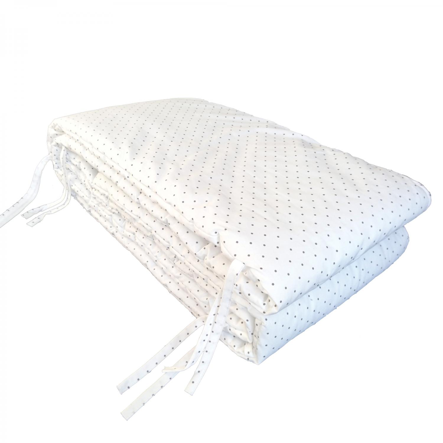 Bed bumper white dotty