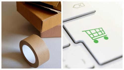 Collage of two images: Brown packages and packing tape on the left and a closeup of a white keyboard with a green shopping cart icon on the right