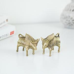 Pair of bull figurines crafted in brass