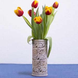 Soapstone vase with openwork elephant intricate carving