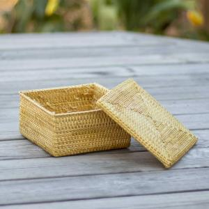 Square golden grass container with lid