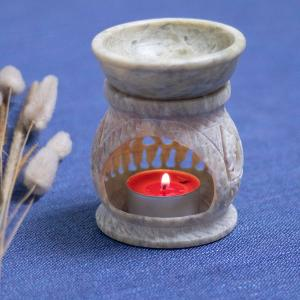Aromatherapy diffuser carved from soapstone  with a tealight holder, and a small dish on the top