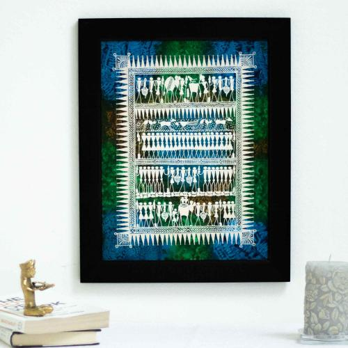 Wall hanging representing daily lives of the Saura tribes on a blue, green and brown mixed background