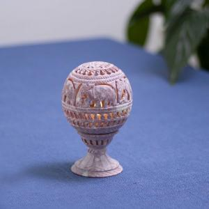 Soapstone candle stand  with floral lattice work and motifs
