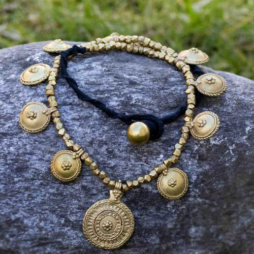 Bohemian necklace with round discs and brass beads