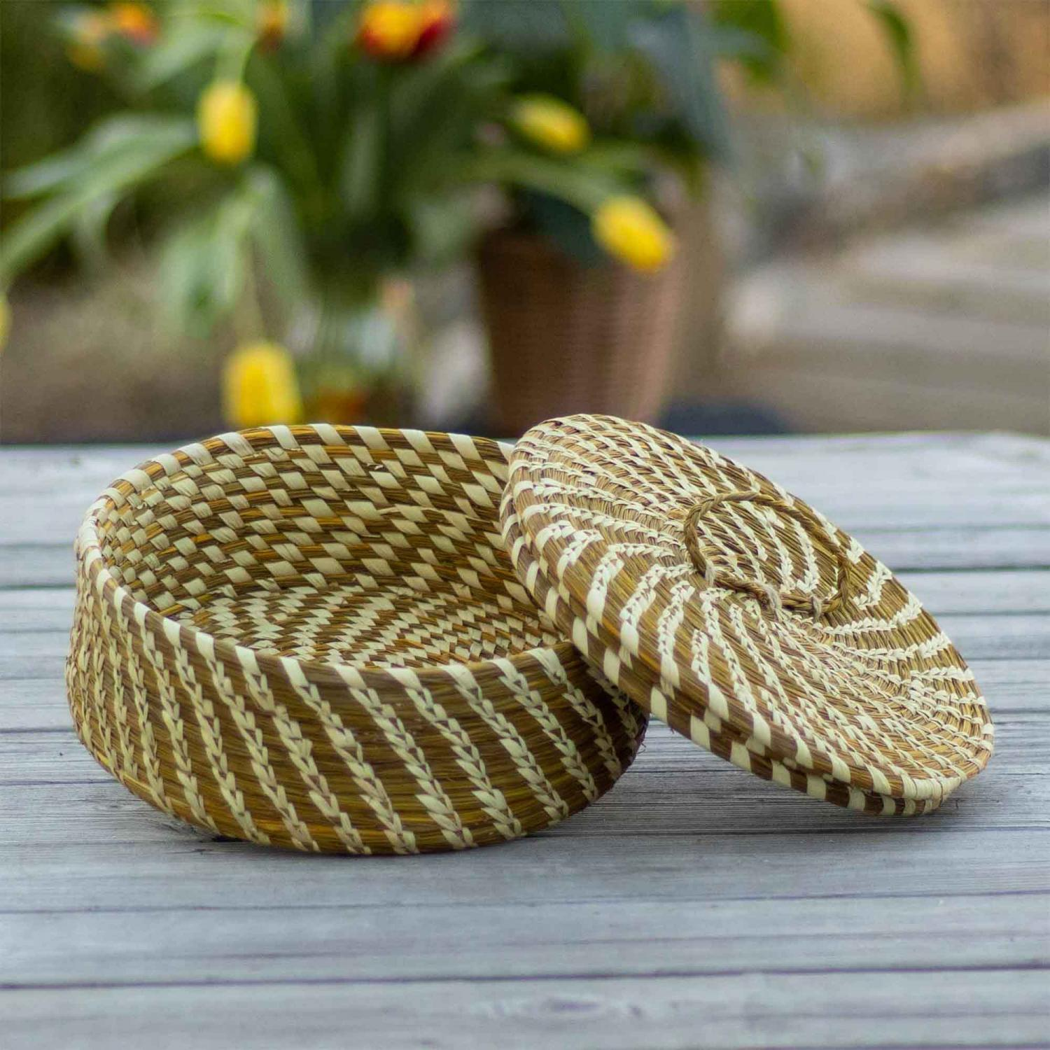 Golden grass container with a combination of brown and golden color