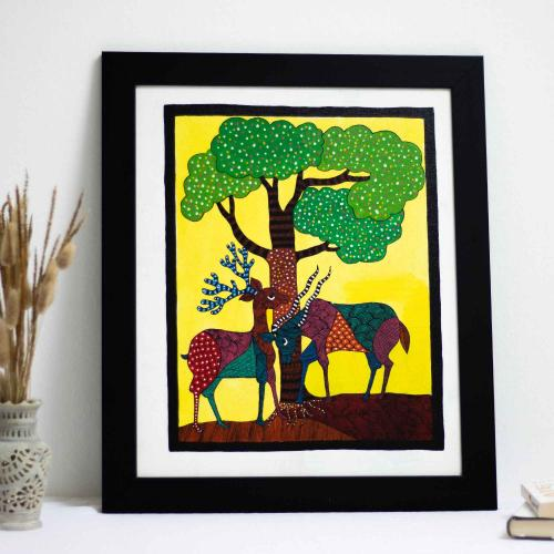 Vibrant folk artwork in a yellow background painted with bright colors with two deers