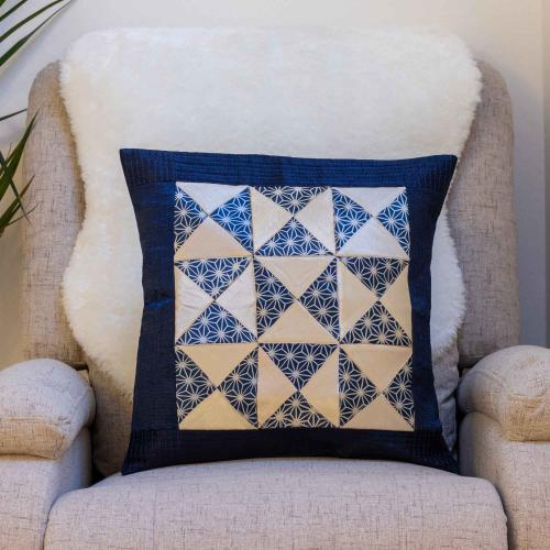 Blue and white cushion cover in Mashru silk with Ajrakh print patchwork