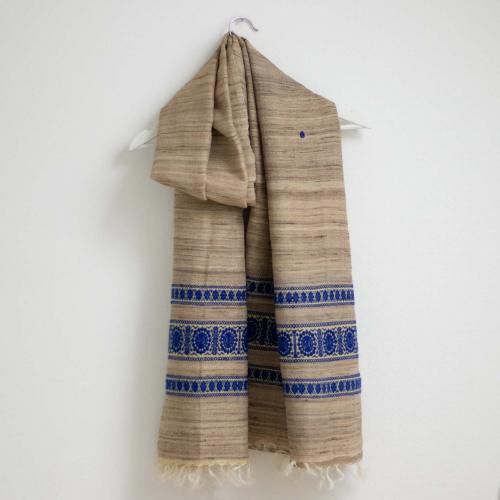 Tussar silk shawl in light beige grey and with a blue pattern